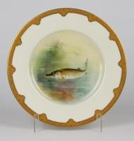 Royal Worcester Hand Painted Cabinet Plate with A Pike by George B Johnson Dated 1921 (12 of 14)