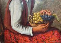 The Fruit Seller - Attractive Original Early 1900s Italian Oil Portrait Painting (4 of 10)