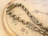 Antique Pocket Watch Chain 1890s Victorian Large Silver Nickel Fancy Link Albert (5 of 12)