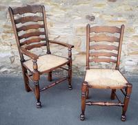 Set of 12 Oak Ladder Back Dining Chairs - Royal Oak Furniture (12 of 15)