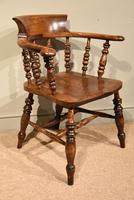 19th Century Elm Smokers Bow Armchair (4 of 6)