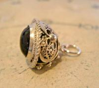 Vintage Pocket Watch Chain Silver Fob 1950s Victorian Revival Amethyst Stone Fob (8 of 10)