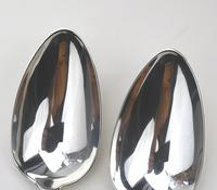 Good Pair of Antique Georgian Solid Silver Serving Table Spoons - London 1814 (5 of 6)