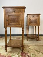 Antique French Bedside Cabinets Marble Tops Walnut Pot Cupboards (3 of 12)