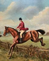 'The Fox Hunt' Original Vintage Country Sporting Pursuit Oil on Canvas Painting (10 of 17)