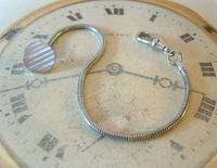 Vintage Pocket Watch Chain 1970s Silver Chrome Snake Link With Ornate Button Hole Fob (3 of 8)