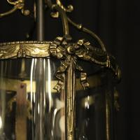 French Convex Gilded Twin Light Antique Lantern (4 of 10)