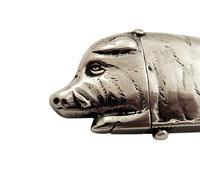 Antique Victorian Sterling Silver Boar / Wild Pig Vesta 1885 (5 of 9)