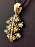 Victorian Blue Enamel & Split Pearl Pendant, 9ct Gold (7 of 12)