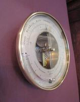 Antique Bronze Cased Twin Thermometer Marine Barometer (2 of 5)