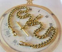 Antique Pocket Watch Chain 1890s Victorian large Brass Double Albert With T Bar (3 of 12)