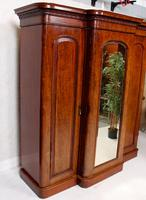 Triple Breakfront Wardrobe Mirrored Mahogany 19th Century (10 of 13)
