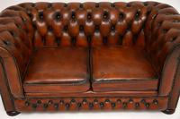 Antique Victorian Style Leather 2 Seat Chesterfield Sofa (9 of 13)