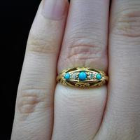 Antique Turquoise and Diamond Five Stone Scroll Boat 18ct 18K Yellow Gold Ring (5 of 10)