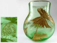 Montjoye Legras - Good & Large French Art Glass Etched Gilt Vase c.1890 (7 of 7)