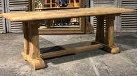 French Bleached Oak Trestle Farmhouse Dining Table (9 of 18)