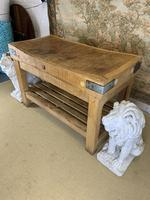 Early 20th c Butchers Block On Pine Stand (3 of 7)