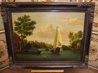 Pair Antique Dutch Oil Paintings Boat Scenes Riverscape 1860 (5 of 12)