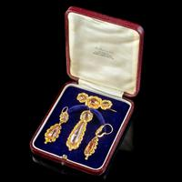 Antique Georgian Brooch & Earring Set 18ct Gold Pink Quartz + Paste Circa 1800 Boxed (9 of 11)