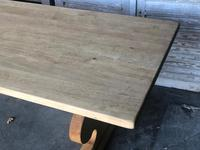 Large French Bleached Oak Trestle Farmhouse Dining Table (12 of 14)