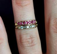 Antique Victorian Ruby, Diamond and Pearl Ring, Double Row, 15ct Gold (12 of 12)