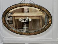 Black Lacquer Chinoiserie Oval Wall Mirror (2 of 6)