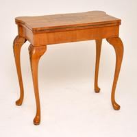 Antique Queen Anne Style Burr Walnut Card Table (2 of 11)