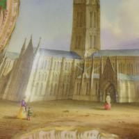Samuel Alcock Porcelain Pot Pourri Vase & Cover View Salisbury Cathedral (6 of 12)