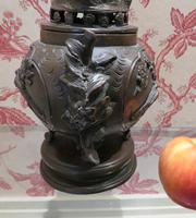 Japanese Bronze Censer & Cover with Kylin on a Rock on the Lid (4 of 10)