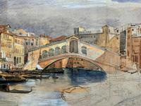 Large Early 1900s Venetian Venice Landscape Watercolour Study Sketch Painting (6 of 14)