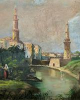 Large Early 1900s North African Cityscape with Mosque Oil Painting on Canvas (14 of 15)