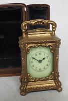 Antique Travelling Miniature Carriage Clock - Original Leather Case Made of Gilt Metal with Enamel Dial Mantel Clock (3 of 12)