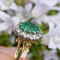 Vintage 18ct Gold Emerald & Diamond Cluster Ring (7 of 11)