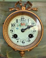 Elegant Tall 19th Century French Gilt Metal & Onyx Garniture Mantel Statue Clock Set (9 of 13)
