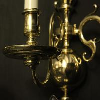 English Set of 3 Twin Arm Antique Wall Lights (6 of 10)