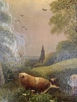 Antique 19th Century British River Landscape Oil Painting of Cows Cattle Signed JD Morris '1 of 2' (5 of 10)