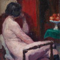 Oswald Poreau, Seated Nude In Leather Boots, Oil Painting (4 of 8)