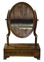 19th Century Mahogany Oval Dressing Table Mirror (6 of 6)