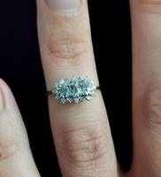 Vintage Aquamarine and Diamond Three Stone Cluster Ring, 9ct Gold (10 of 12)