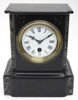 Antique French Slate & Marble Mantel Clock 8 Day Mantle Clock (9 of 9)