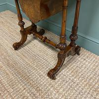 Spectacular Figured Walnut Inlaid Victorian Antique Work Box / Side Table (8 of 8)