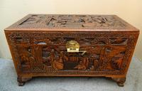 Oriental Carved Camphor Wood Trunk