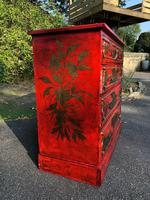 Antique Lacquered Chinoiserie Chest of Drawers (4 of 11)
