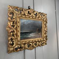 Antique oil painting seascape coastal scene of St Owens Ouens Bay Jersey (10 of 10)
