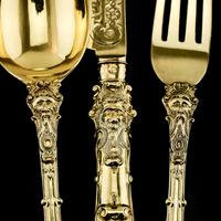 Antique Victorian Solid Silver Gilt Traveling / Christening Cutlery Set - Martin Hall & Co. 1872 (6 of 22)