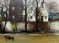 Ronald Folland (1932-1999) Original Signed Winter Village Landscape Oil Painting (7 of 12)
