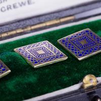 Art Deco Blue Enamel & 18 Carat Gold Cufflinks c.1920 (3 of 6)