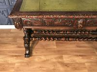 Victorian Carved Oak Desk Library Table (17 of 25)