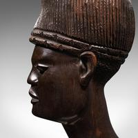 Antique Hand Carved Female Bust, African, Ebony, Ornamental Figure c.1900 (10 of 12)