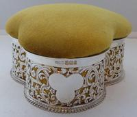 Large Victorian 1899 Hallmarked Silver Jewellery Box Pin Cushion Ring Earring (6 of 13)